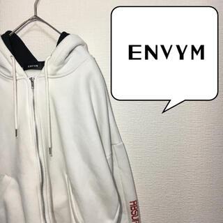 アンビー(ENVYM)のアンビー ENVYM パーカー フリーサイズ XL相当 白 スウェット(パーカー)