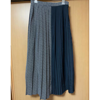 pleats skirt ネイビー(ロングスカート)