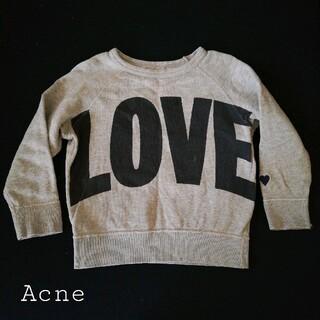 アクネ(ACNE)のAcne miniature LOVE♡トレーナー グレー 100~110(Tシャツ/カットソー)