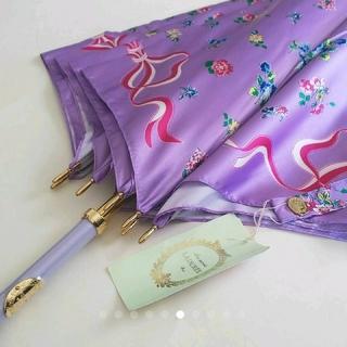 LADUREE - ラデュレ 花とリボン ラベンダー雨傘 LADUREE 紫  長傘