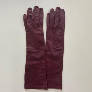 ザラ(ZARA)の美品 ZARA レディース レザーロンググローブ 革手袋 ボルドー系 裏地無し(手袋)