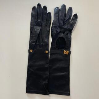 ルイヴィトン(LOUIS VUITTON)の美品 ルイヴィトン レディース レザーグローブ 黒革手袋 サイズL (手袋)