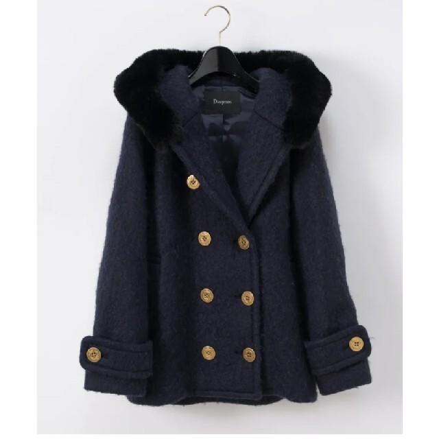 GRACE CONTINENTAL(グレースコンチネンタル)のグレースコンチネンタルフードファーダブルコート36 レディースのジャケット/アウター(毛皮/ファーコート)の商品写真