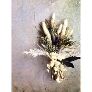 パープルモノトーンスワッグ ドライフラワー 孔雀(ドライフラワー)