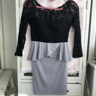 デイジーストア(dazzy store)のキャバ嬢ドレス ペプラム 黒レース(ミニドレス)