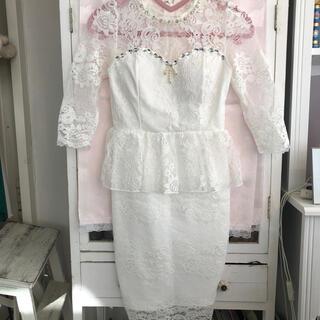 デイジーストア(dazzy store)のキャバ嬢ドレス ペムラム 白レース(ミニドレス)