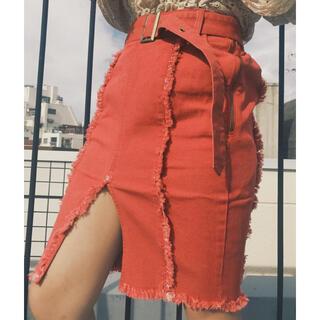 スワンキス(Swankiss)のLast Virgin Denim highslit タイトスカート(RED)(ひざ丈スカート)