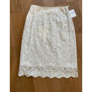ユナイテッドアローズ(UNITED ARROWS)のユナイテッドアローズ❤️新品未使用 レーススカート オフホワイト(ひざ丈スカート)