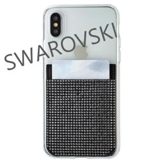 スワロフスキー(SWAROVSKI)のスワロフスキー スマホステッカー 黒 新品未使用(モバイルケース/カバー)
