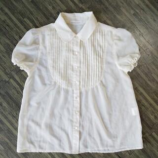 オリーブデオリーブ(OLIVEdesOLIVE)の半袖パフスリーブ 襟シアーシャツブラウス シースルー(シャツ/ブラウス(半袖/袖なし))