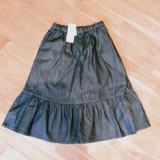 ユニクロ(UNIQLO)の【新品】デニム フレアスカート 150cm キッズ レディース(スカート)