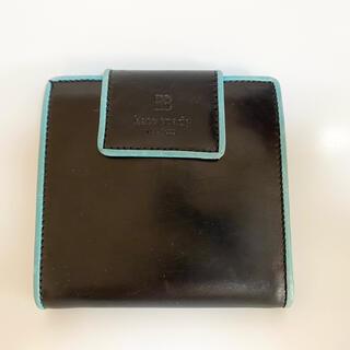 ケイトスペードニューヨーク(kate spade new york)のケイトスペード 財布 二つ折り ブラック×水色枠 コンパクト(財布)