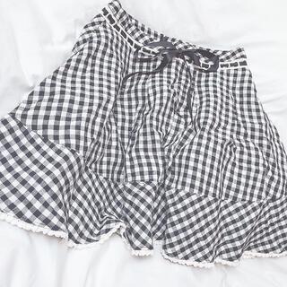 ミルク(MILK)の匿名配送 ♡ MILK チェックスカート ギンガムチェック シロ×クロ(ひざ丈スカート)