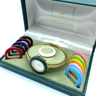 グッチ(Gucci)の美品☆GUCCIチェンジベゼル 新品電池 Mサイズ レディース腕時計(腕時計)