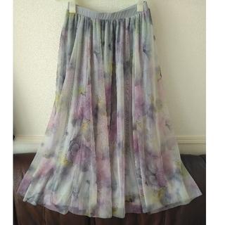 花柄ロングチュールスカート