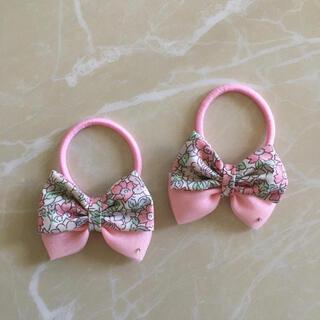 ボンポワン(Bonpoint)のリバティ ヘアゴム  ホワイトデー ピンク リボン チュール(ファッション雑貨)
