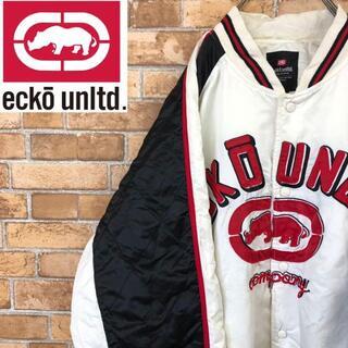 エコーアンリミテッド(ECKŌ UNLTD(ECKO UNLTD))の☆エコー☆ecko 中綿ナイロンジャケット ビッグサイズ デカロゴ 白(ナイロンジャケット)