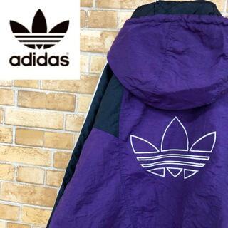 アディダス(adidas)の☆アディダス90s☆中綿ナイロンジャケット ビッグロゴ トレフォイル 紫(ナイロンジャケット)