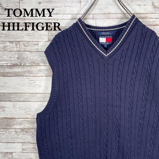 トミーヒルフィガー(TOMMY HILFIGER)の【古着】90s オールドトミー ワンポイント 刺繍ロゴ ニットベスト L(ベスト)