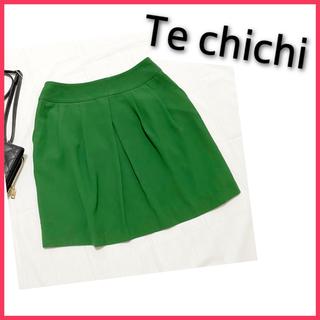 テチチ(Techichi)の日本製! M テチチ フレアスカート ミニスカート グリーン 緑(ミニスカート)
