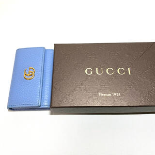 Gucci - GUCCI グッチ プチマーモント キーケース ライトブルー レザー