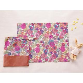 ランチョンマット巾着セット 30×40 入園 入学 ピンク 女の子 花柄(外出用品)