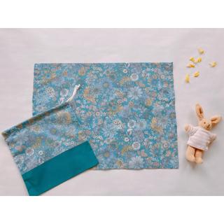 巾着ランチョンマットセット 30×40 花柄 女の子 青 入園 入学 (外出用品)