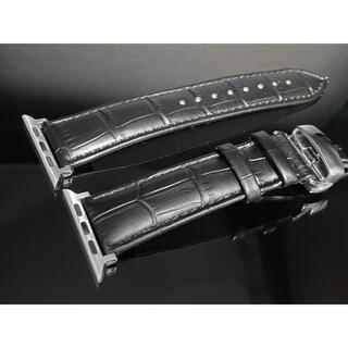 アップルウォッチ用カスタムベルト 本革肉厚 クロコダイル 高品質Dバックル付き(レザーベルト)