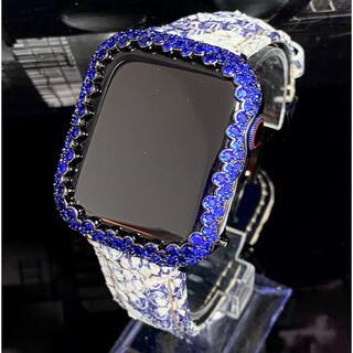 アップルウォッチ用カスタムダイヤカバーベルトセット ブルースパークリング(レザーベルト)