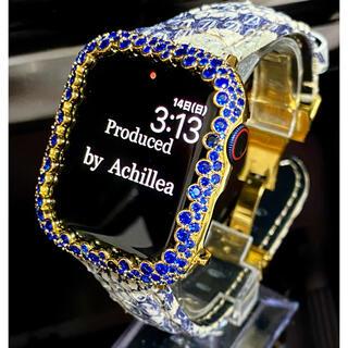 アップルウォッチ用カスタムダイヤカバーベルトセット ブルースパークリング(腕時計(デジタル))