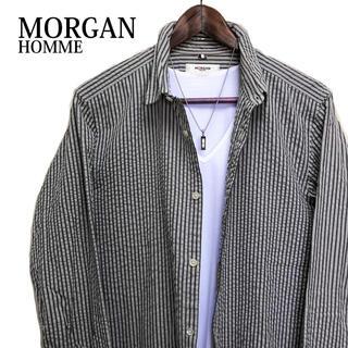 モルガン(MORGAN)のMORGAN HOMME ストライプシャツ 長袖シャツ カジュアルシャツ(シャツ)