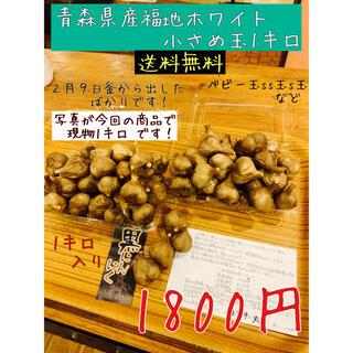 黒にんにく 青森県産福地ホワイト小さめ玉1キロ  黒ニンニク(野菜)