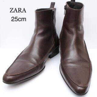 ザラ(ZARA)のZARA ザラ サイドゴアブーツ ブラウン サイズ40 25cm相当(ブーツ)