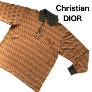 クリスチャンディオール(Christian Dior)の刺繍ロゴ 古着 クリスチャンディオール 総柄 ポロシャツ メンズ  XL  長袖(ポロシャツ)