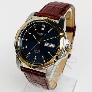 セイコー(SEIKO)の【大人気】SEIKOセイコー メンズ男性 腕時計 新品 ソーラー 革レザー(レザーベルト)