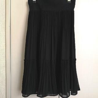 シフォンスカート Mサイズ 黒(ひざ丈スカート)