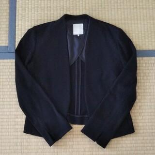 黒 ノーカラージャケット(ノーカラージャケット)