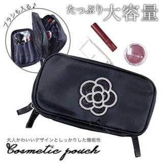 【ブラック】ポーチ コスメポーチ スパンコールフラワー   化粧ポーチ(メイクボックス)