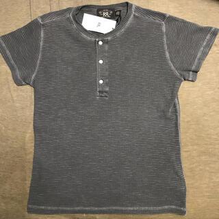 ダブルアールエル(RRL)のRRL ダブルアールエル ワッフルニット コットン ヘンリー 黒 S(Tシャツ/カットソー(半袖/袖なし))