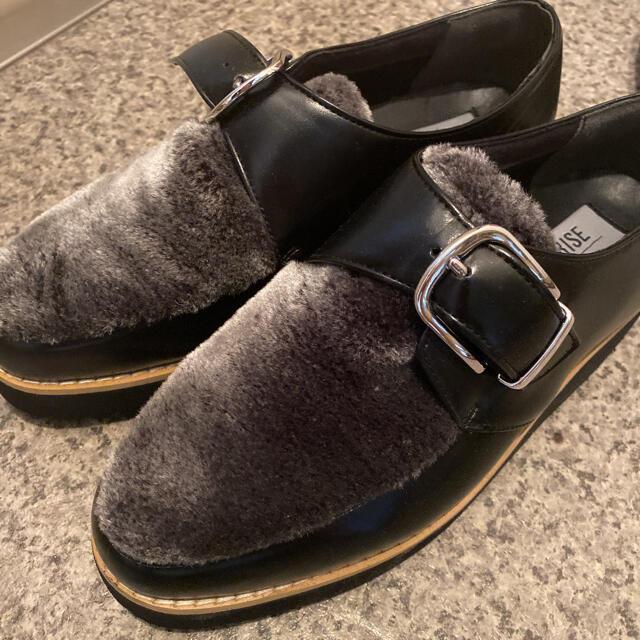 Le Talon(ルタロン)のLe Talon GRISE ローファー 厚底 ファー ブラック 23センチ  レディースの靴/シューズ(ローファー/革靴)の商品写真