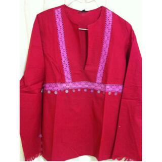 アンティックバティック(Antik batik)のANTIK BATIK シャツカットソー M レッド(シャツ/ブラウス(長袖/七分))