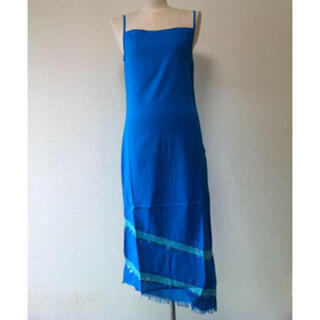 アンティックバティック(Antik batik)のANTIK BATIK シャツキャミソールワンピース S ブルー(ひざ丈ワンピース)