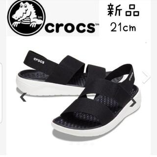 crocs - 新品 クロックス ライトライド ストレッチ サンダル レディース 21 黒 ol