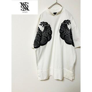 ジーヴィジーヴィ(G.V.G.V.)のG.V.G.V. 波 ビッグ Tシャツ NAMI モノクロ 白 ホワイト 日本製(Tシャツ/カットソー(半袖/袖なし))