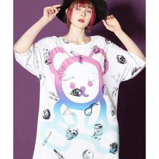 アンコロック(ankoROCK)のホワイトダーティ&キュートテディベアTシャツ(Tシャツ(半袖/袖なし))