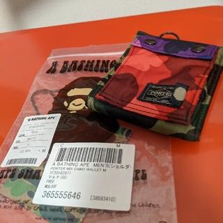 アベイシングエイプ(A BATHING APE)のBAPE × PORTER タンカー mix camo 財布 クレイジー(折り財布)