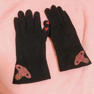 Vivienne Westwood - 【ヴィヴィアン】手袋 タッチパネル対応 黒 ブラック ピンクオーブ ハート刺繍