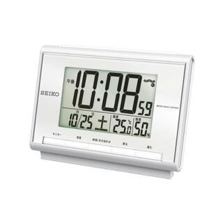 セイコー(SEIKO)のセイコー 電波目覚まし時計 白 新品 送料無料 電池2本付(置時計)