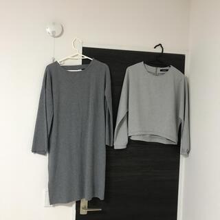 ダブルクローゼット(w closet)の美品ダブルクローゼットw closetワンピース長袖カットソーFサイズトレーナー(ひざ丈ワンピース)