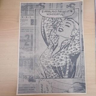 外人女性1 デザインペーパー A4サイズ 白黒 ラッピングなどに(カード/レター/ラッピング)